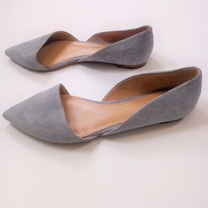 J. Crew Factory 7.5 Blue Point Toe Flats Suede GUC